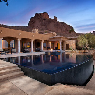 Inspiration for a contemporary infinity pool remodel in Phoenix