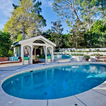 Refurbished Pool, Deck, Seating, Pool House and Terraced Garden