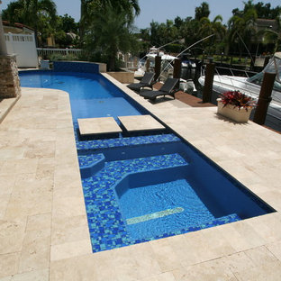 Remodeled Custom Swimming Pool and Spa with Fountain Feature in Pompano Beach