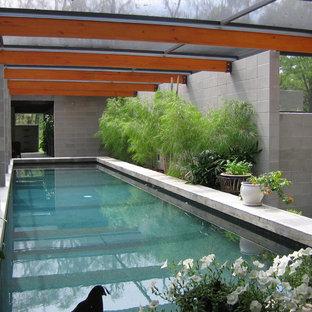 Diseño de piscina minimalista rectangular y interior