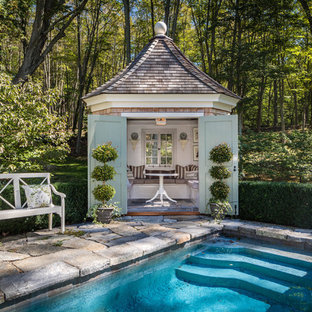 Inspiration for a shabby-chic style pool remodel in New York