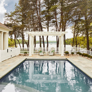 Inspiration for a mid-sized farmhouse stone and rectangular pool remodel in Richmond