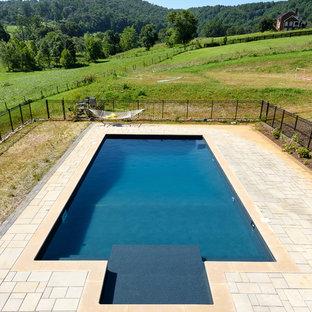 Modelo de piscina alargada, actual, de tamaño medio, a medida, en patio trasero, con adoquines de hormigón
