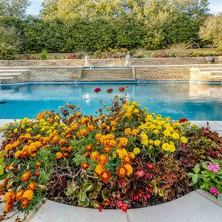 Foto de piscina con fuente alargada, tradicional, grande, a medida, en patio trasero, con losas de hormigón
