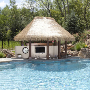 Inspiration for a large tropical backyard rectangular lap pool remodel in Chicago