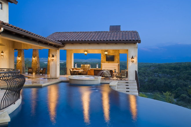 Mediterranean Pool by Cornerstone Architects