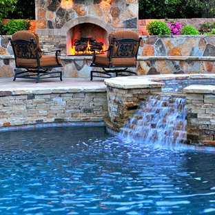 Inspiration for a mediterranean round pool remodel in Orange County