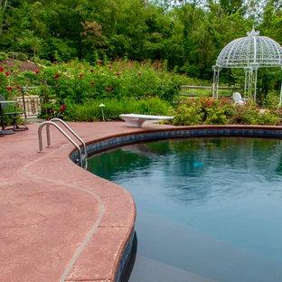 Diseño de piscina infinita, rústica, extra grande, a medida, en patio trasero, con suelo de hormigón estampado