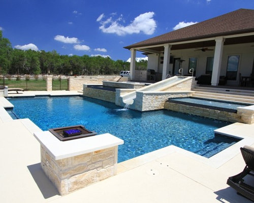 Brilliant Modern Pool Designs With Slide Slides In Inspiration