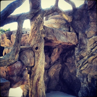 Sculpted concrete tree in grotto