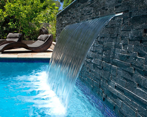 Sheer descent waterfall houzz for Pool design water feature