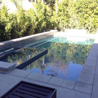 Aménagement d'une piscine arrière moderne de taille moyenne et rectangle avec un bain bouillonnant et des pavés en béton.