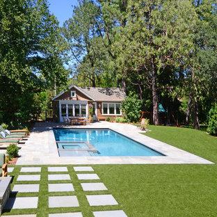 Shingle style home and poolhouse