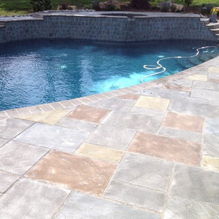 Modelo de piscina exótica, grande, en patio trasero, con adoquines de hormigón