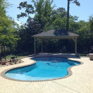 Ejemplo de piscina natural, costera, de tamaño medio, a medida, en patio trasero, con losas de hormigón