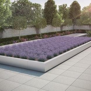Inredning av en minimalistisk mellanstor rektangulär, inomhus pool, med en fontän och marksten i betong