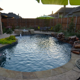 Photo of a small country backyard custom-shaped pool in Dallas.