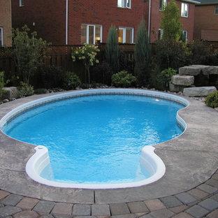 Modelo de piscina con fuente natural, tradicional renovada, pequeña, tipo riñón, en patio trasero, con suelo de hormigón estampado