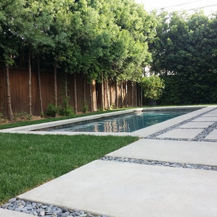 Inspiration for a small modern backyard rectangular pool in Los Angeles with concrete pavers.