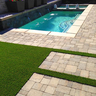 Inspiration for a small contemporary back custom shaped swimming pool in Los Angeles with concrete paving.
