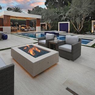 Idee per una grande piscina minimal rettangolare dietro casa con fontane e pavimentazioni in pietra naturale