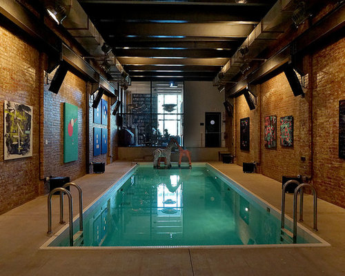 inspiration for a small industrial indoor rectangular pool house remodel in new york - Indoor House Pools