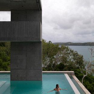 Modelo de piscina infinita, industrial, extra grande, en forma de L, en patio trasero, con losas de hormigón