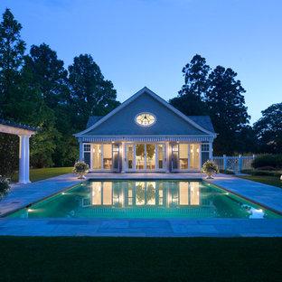 Idee per una piscina vittoriana rettangolare con una dépendance a bordo piscina
