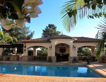 Spanish Colonial Revival Style Pool Cabana in Santa Barbara