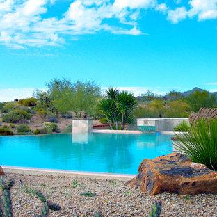 Imagen de piscina con fuente infinita, de estilo americano, extra grande, a medida, en patio trasero, con gravilla