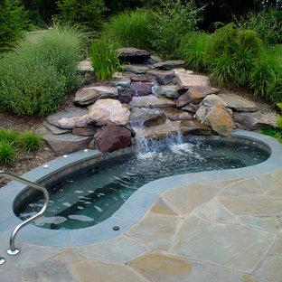 Ejemplo de piscinas y jacuzzis de estilo americano, tipo riñón, en patio trasero, con adoquines de piedra natural