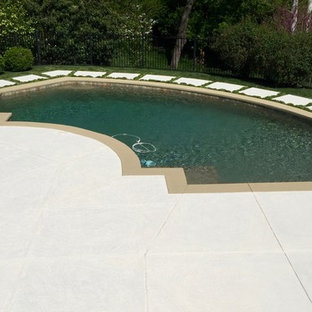 Pool - large traditional backyard decomposed granite and custom-shaped natural pool idea in St Louis