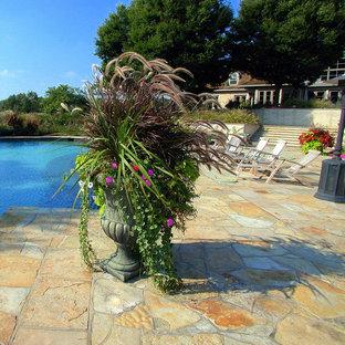 Foto di una piccola piscina classica dietro casa con pavimentazioni in pietra naturale