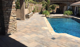 Stacked stone columns, hardscape and pavers, Mt. Helix