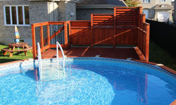 Stained Amber Poolside Privacy Fence
