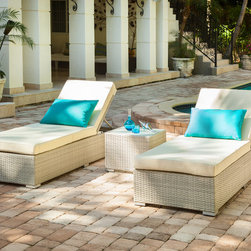 Stasi Lounger Set - Relax in style with the Stasi Lounge Set. Made of the latest UV treated synthetic weave and reinforced with interior aluminum tube frame for added strength and durability with UV and water resistant off-white outdoor fabric cushions