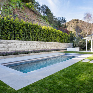 Hot tub - transitional backyard concrete and rectangular lap hot tub idea in Los Angeles