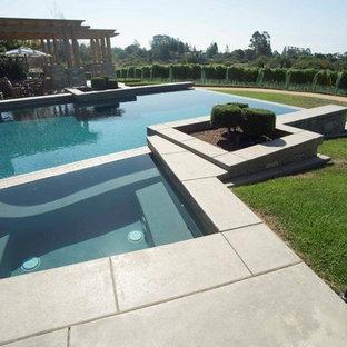 Foto de piscina con fuente natural, minimalista, grande, a medida, en patio trasero, con adoquines de hormigón