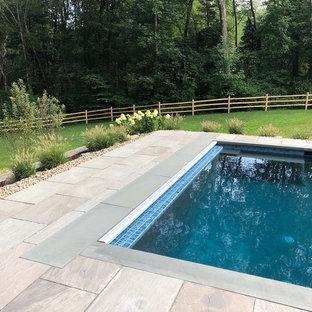 Modelo de piscina natural, actual, rectangular, en patio trasero, con adoquines de piedra natural