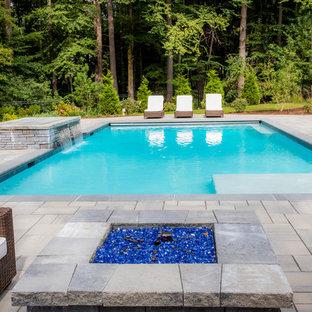 Trendy Backyard Rectangular Lap Pool Photo In Boston