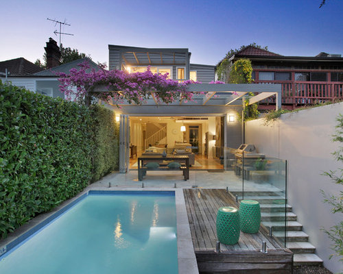 This Is An Example Of A Contemporary Backyard Rectangular Pool In Sydney  With Natural Stone Pavers