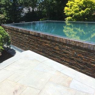Modelo de piscina infinita, nórdica, grande, rectangular, en patio trasero, con adoquines de piedra natural