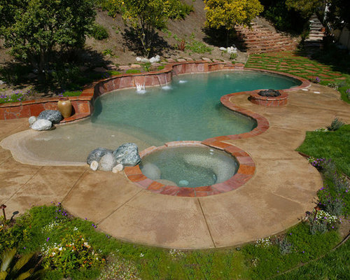 beach entry swimming pool designs. Inspiration For A Mid-sized Transitional Backyard Concrete And Custom-shaped Natural Hot Tub Beach Entry Swimming Pool Designs H