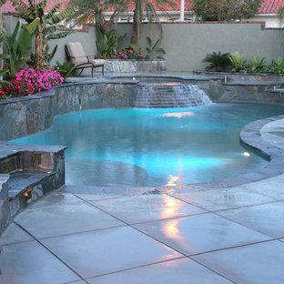 Imagen de piscinas y jacuzzis naturales, contemporáneos, de tamaño medio, tipo riñón, en patio trasero, con adoquines de hormigón
