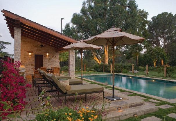 Traditional Pool Swimming Pool and Cabana