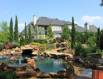 Swimming pool, spa, koi pond, gardens.