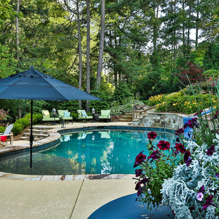 This is an example of a large vintage back custom shaped natural swimming pool in Atlanta with a water slide and decking.