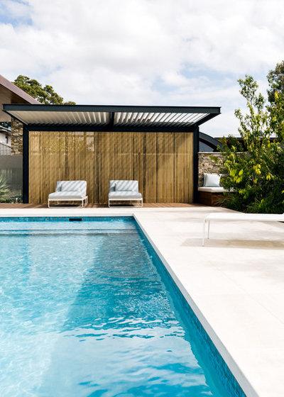 Contemporary Pool by Kristin Adam Design
