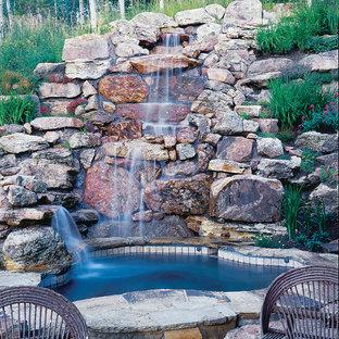 Pool - small rustic natural pool idea in Denver