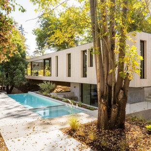 Diseño de piscina infinita, vintage, rectangular, en patio trasero